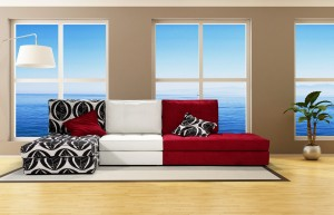 bright living room with brown sofa and big windows - rendering