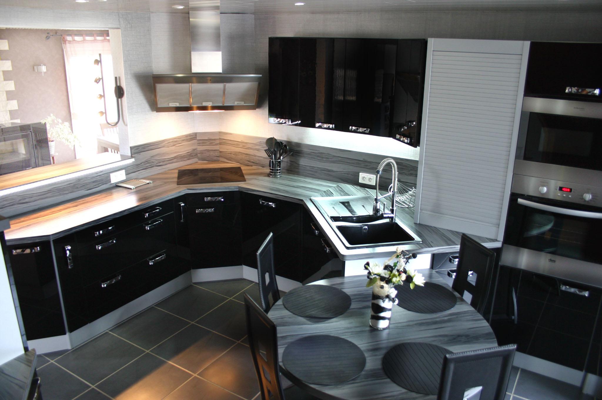 Cuisine Laquée Grise cuisine laquée noire par meubles jem - jemleblog