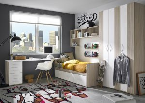 Chambre pour enfant mais aussi adulte, design scandinave, teinte épurée