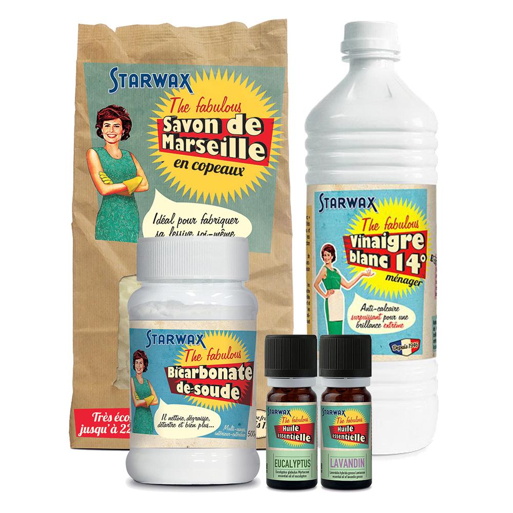 photos des produits contenus dans le kit lessive liquide starwax the fabulous