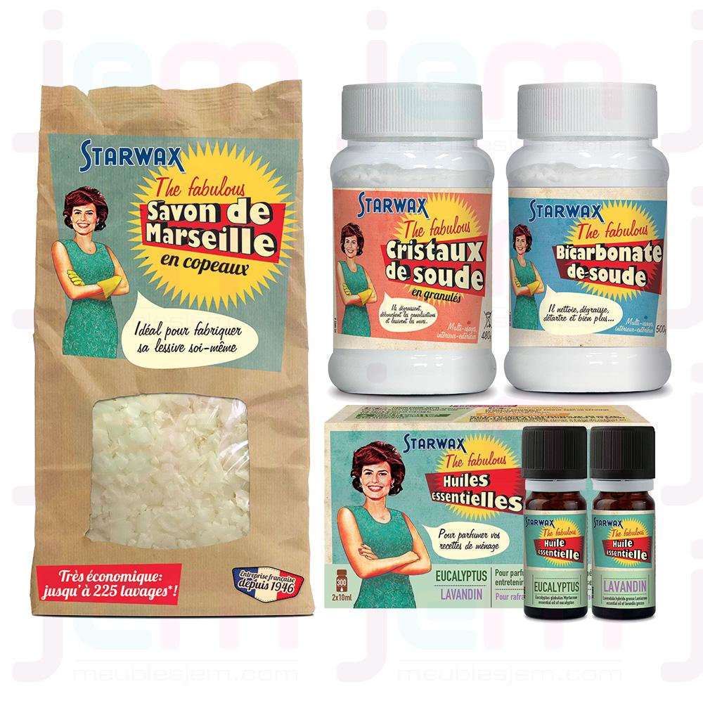 photos produits contenus dans le kit lessive liquide starwax the fabulous